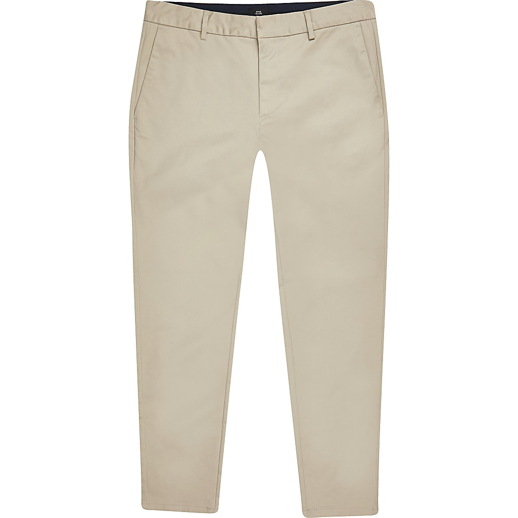 Big and Tall - Blauwe skinny-fit chino broek