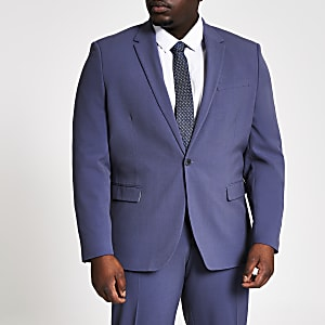 Big and Tall - Blauw skinny-fit colbert