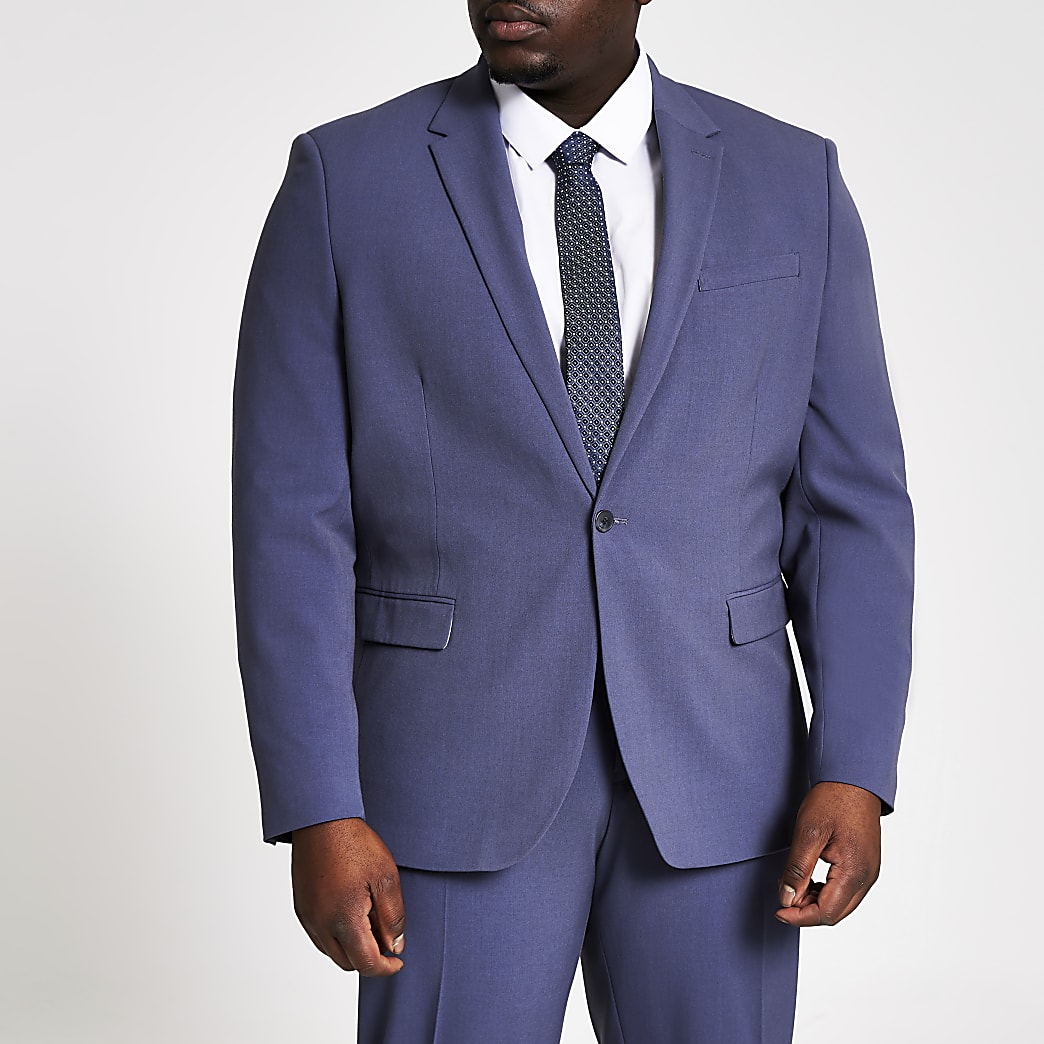 Big and Tall blue skinny fit suit jacket