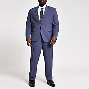 Big and Tall blue skinny fit suit trousers