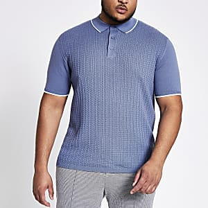 Big and Tall - Blauw gebreid slim-fit poloshirt