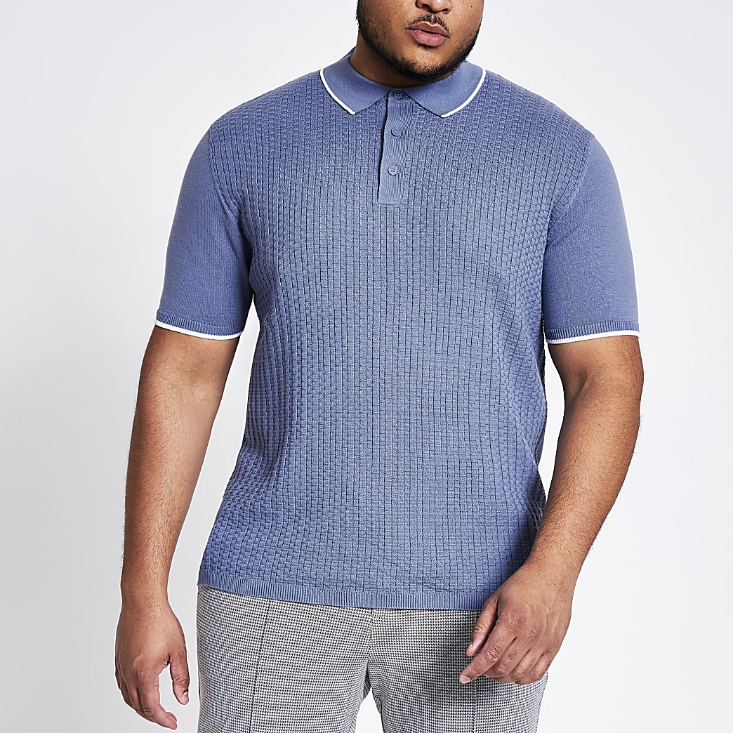 Big and Tall – Polo slim bleu en maille