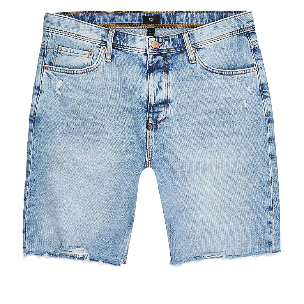 Big & Tall blue slim fit raw hem shorts