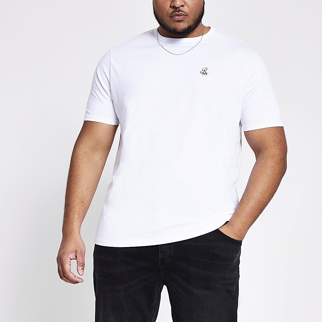 Big and Tall - Blauw slim-fit T-shirt