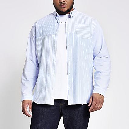 Big and Tall blue stripe blocked slim shirt