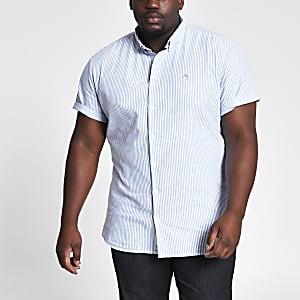 Big & Tall – Blau gestreiftes Oxford-Hemd