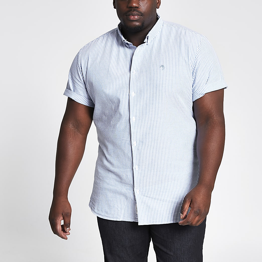 Big and Tall– Chemise Oxford rayée bleue