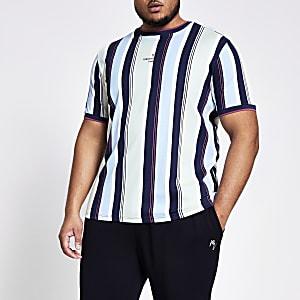 Big and Tall - Blauw gestreept slim-fit T-shirt