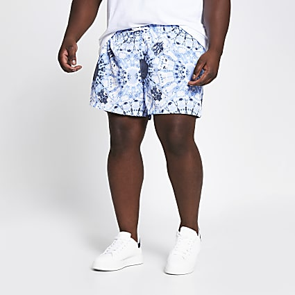 Big and Tall blue tie dye printed swim shorts