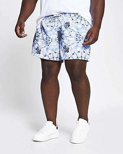 Big and Tall blue tie dye printed swim shorts