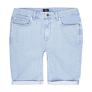 Big and Tall - Helderblauwe skinny-fit short