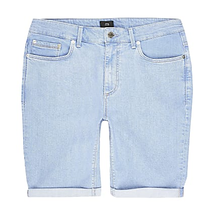 Big and Tall bright blue skinny fit shorts