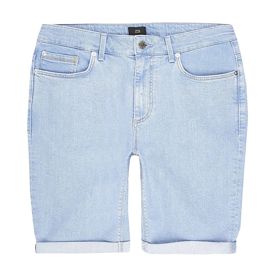 Big and Tall bright blue skinny fit shorts
