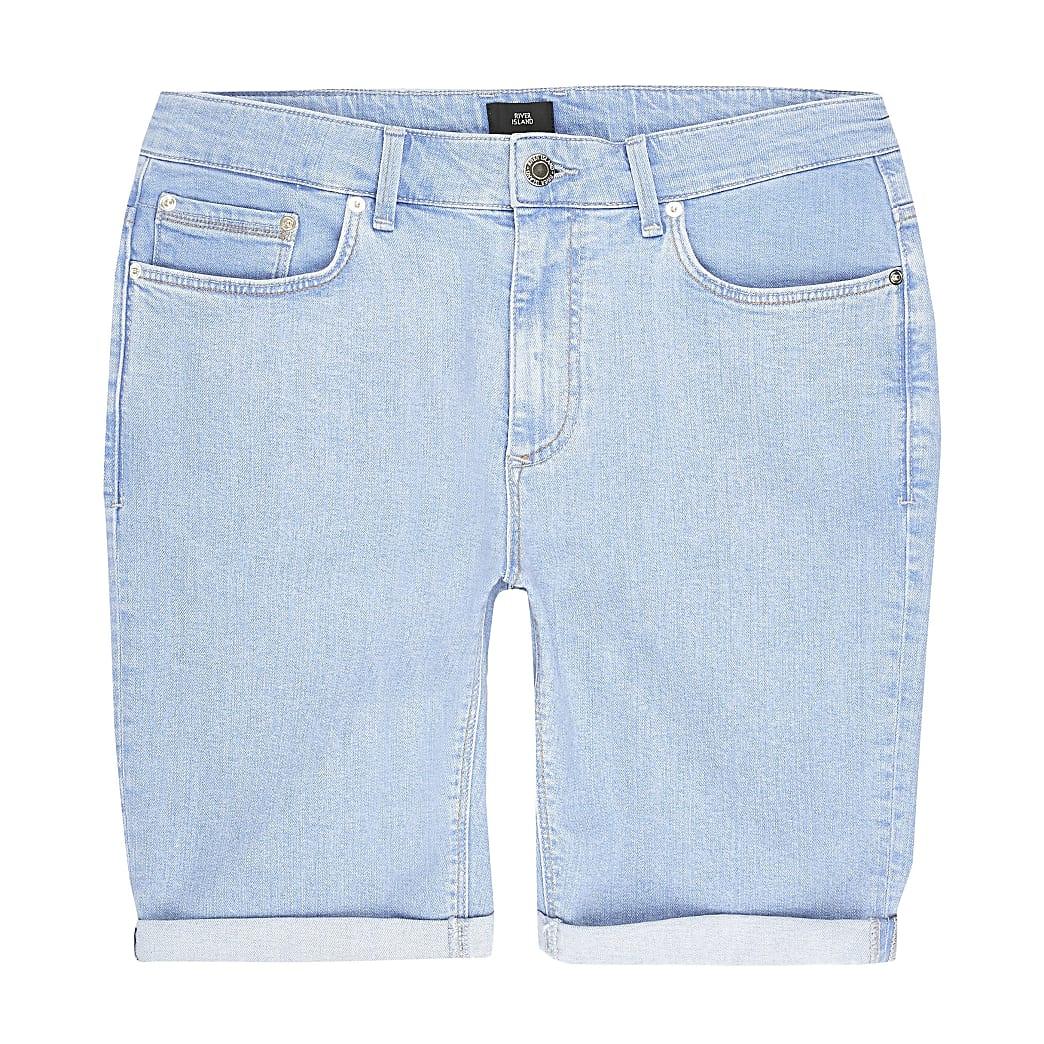 Big and Tall – Hellblaue Skinny Fit Shorts