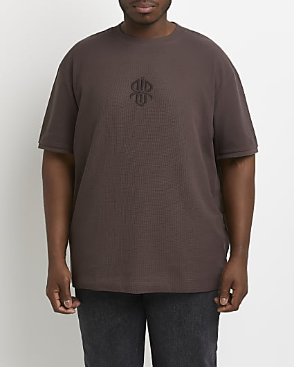 Big & tall brown embroidered t-shirt