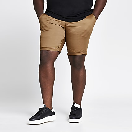 Big and Tall brown skinny fit chino shorts