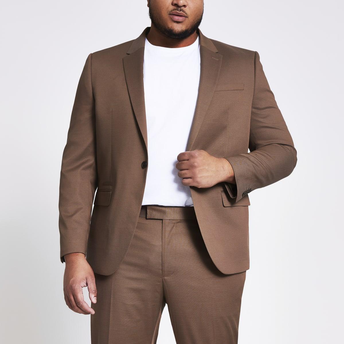 Big and Tall – Braune Skinny Fit Anzugjacke mit Karomuster