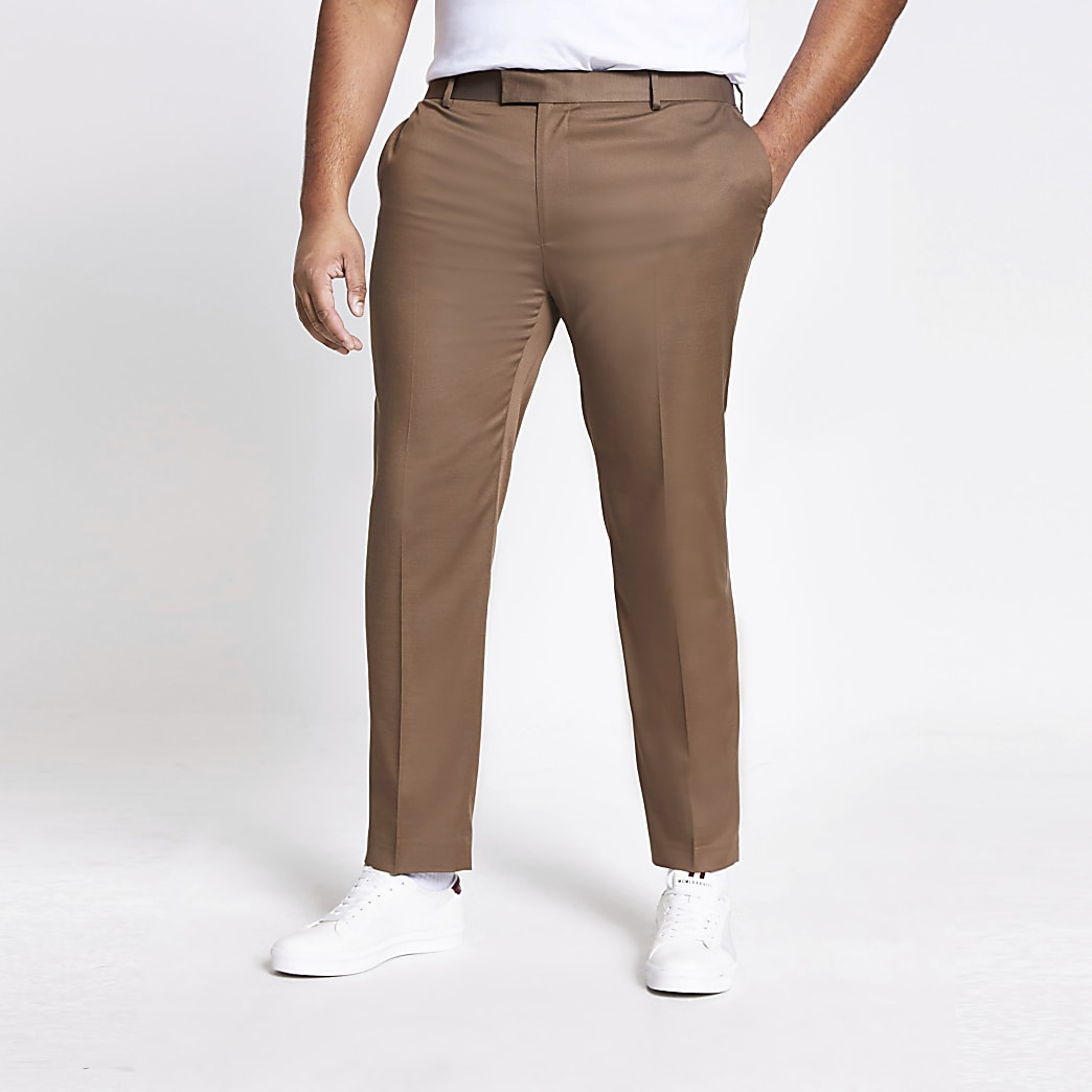 Big and Tall – Braune Skinny Fit Anzughose