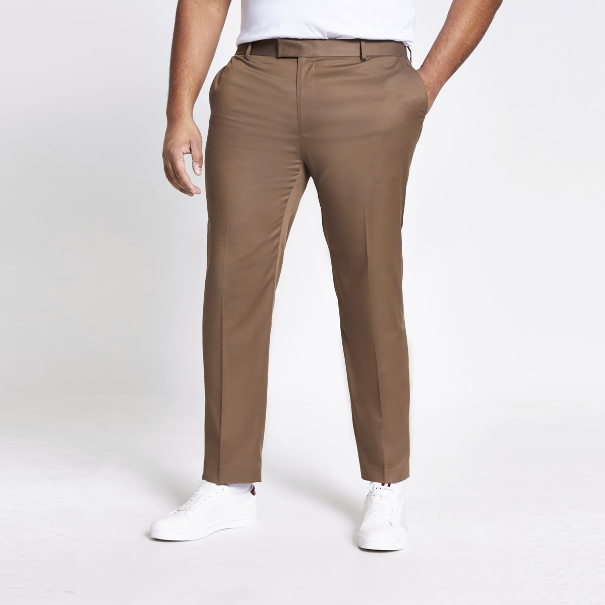 Big and Tall brown skinny fit suit trousers