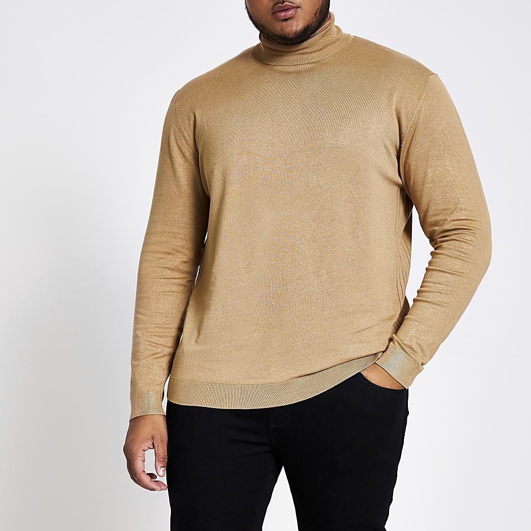 Big and Tall brown slim fit roll neck jumper