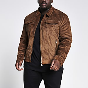 Big and Tall – Veste western en suédine marron