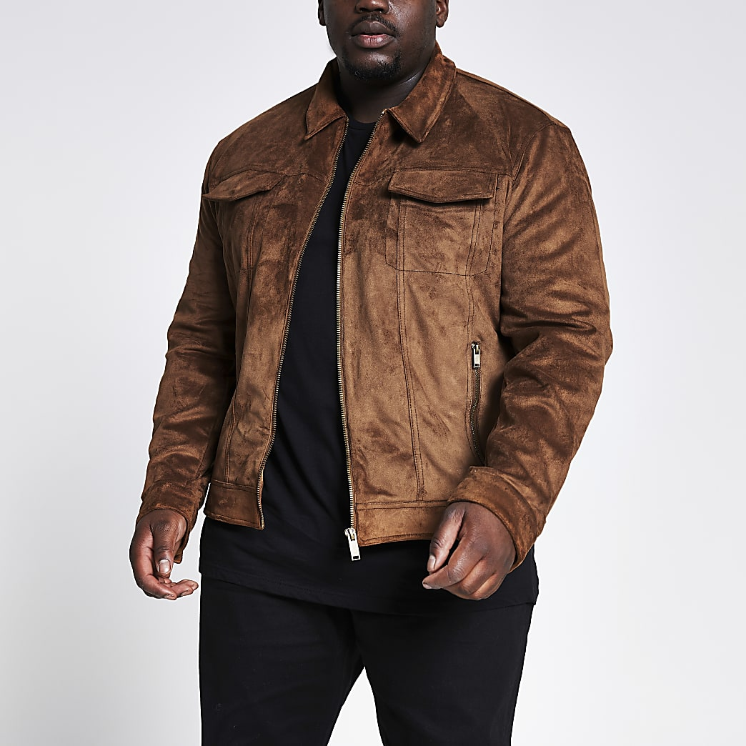 Big and Tall brown suedette western jacket