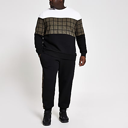 Big and Tall check block slim fit sweatshirt