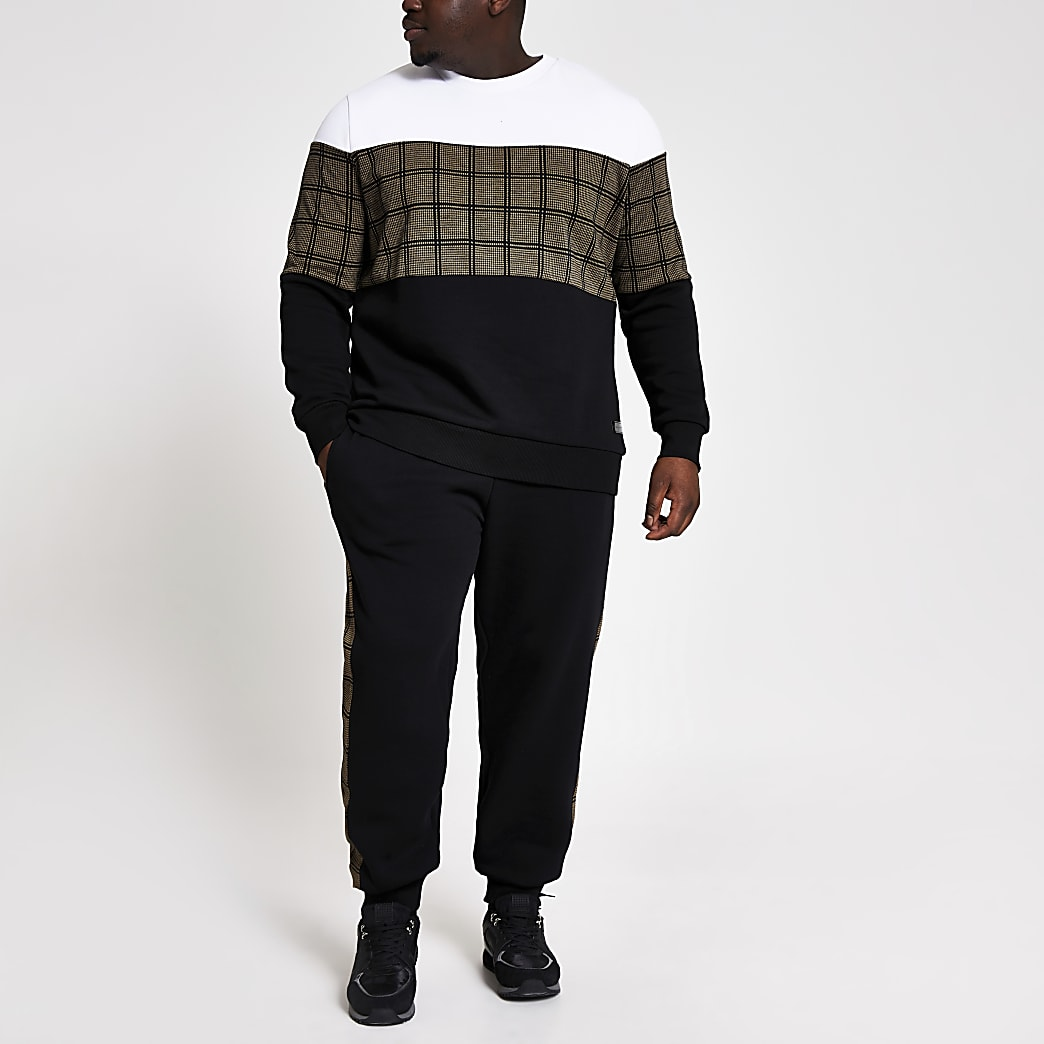 Big and Tall check block slim fit sweatshirt