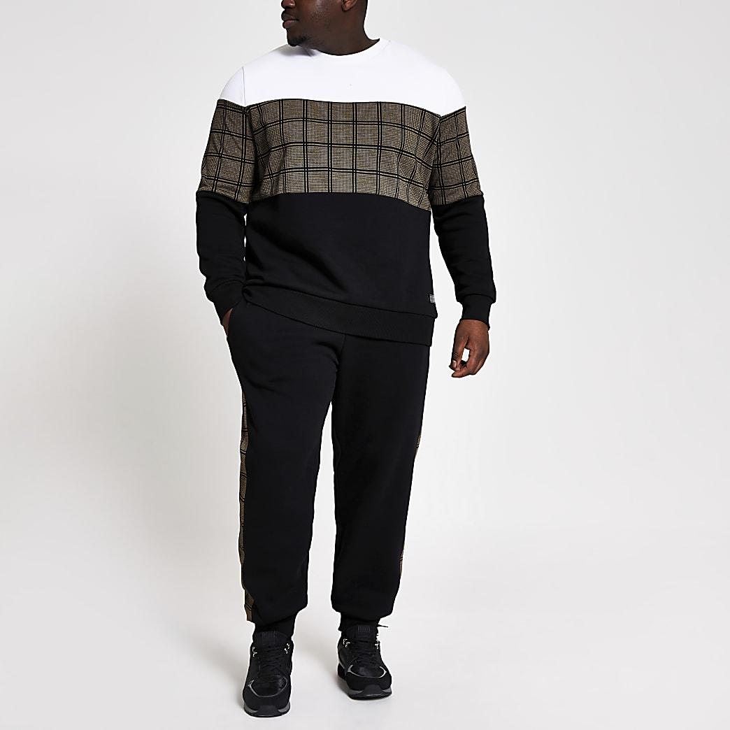 Big and Tall - Geruite slim-fit sweater met kleurvlakken