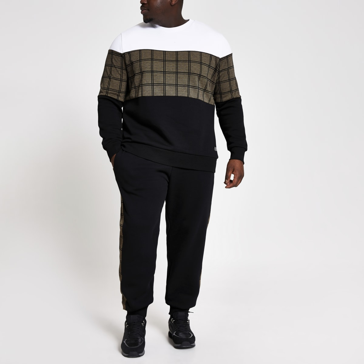 Big and Tall – Karierte Slim Fit Sweatshirt im Blockfarben-Design