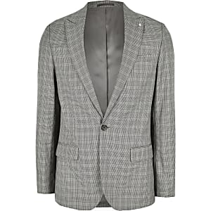 Big and Tall check skinny fit suit jacket