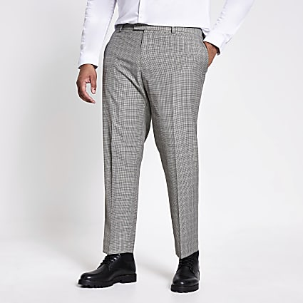 Big and Tall check skinny fit suit trousers