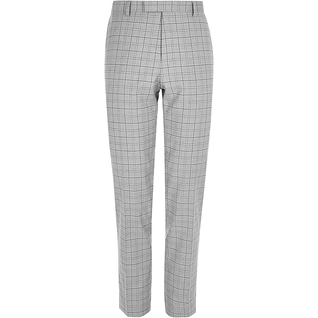 Big and Tall - Geruite slim-fit pantalon