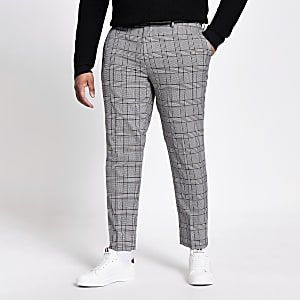 Big and tall check smart trousers