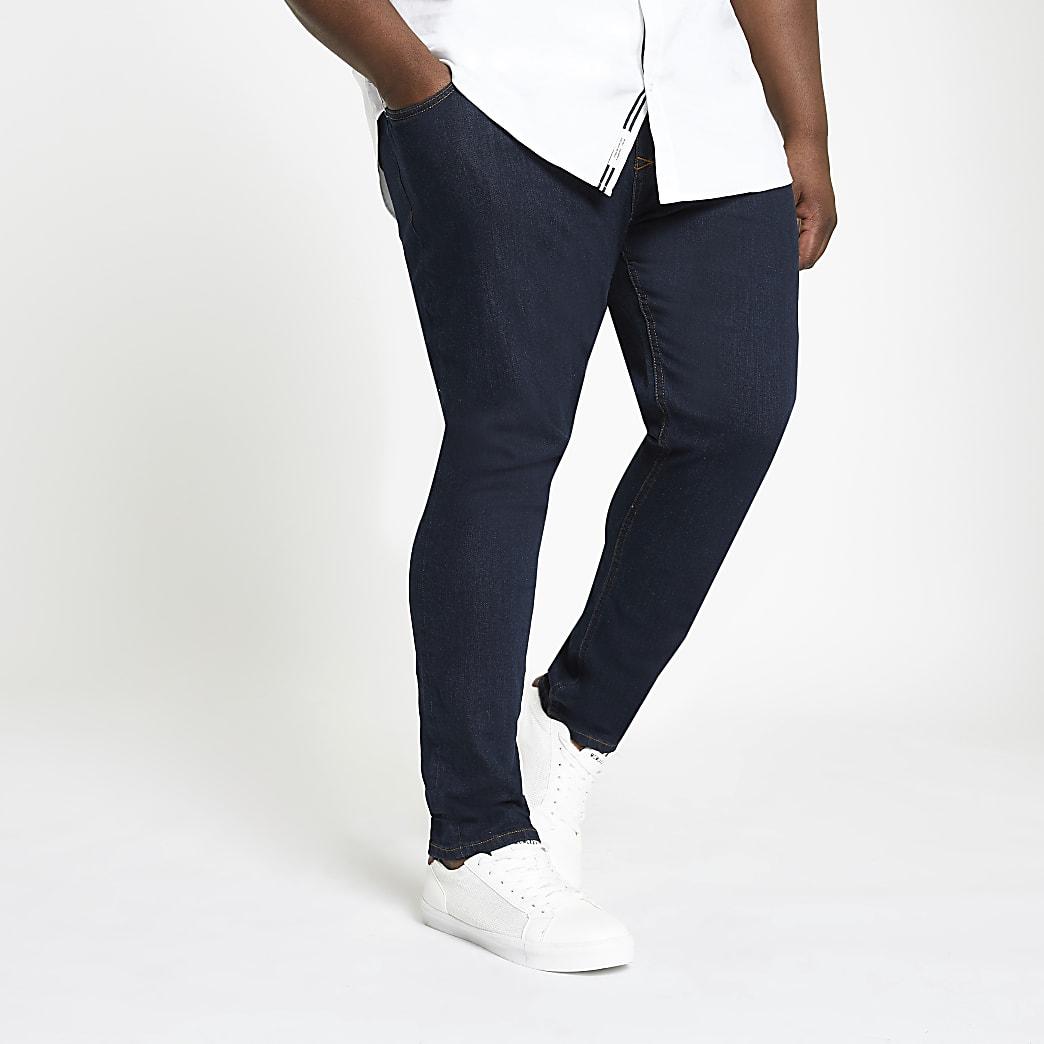 Big and Tall – Dunkelblaue Sid – Skinny Fit Jeans