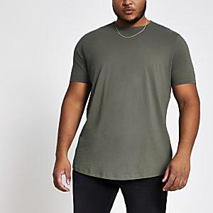Big and Tall – Dunkelgrünes T-Shirt mit abgerundetem Saum