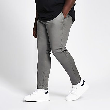 Big and Tall dark grey skinny chino trousers