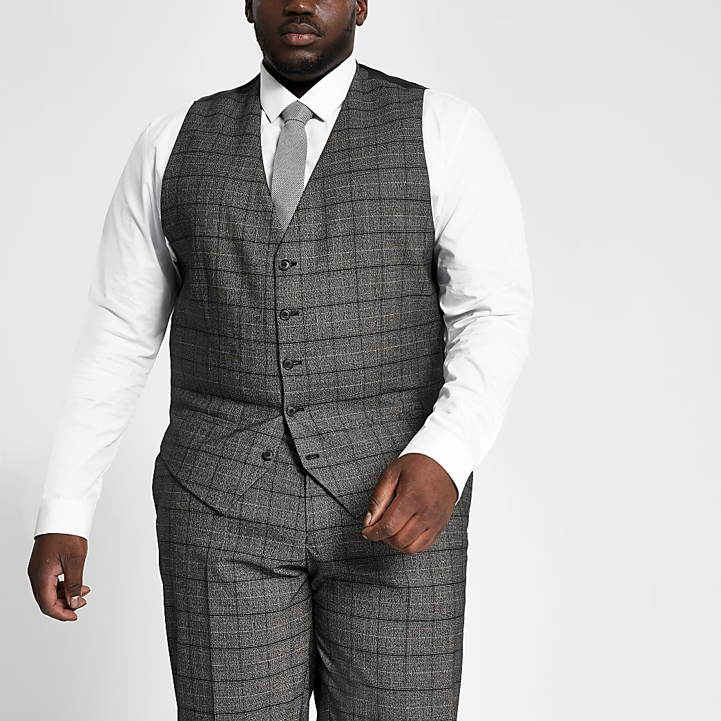 Big and Tall dark grey suit wasitcoat