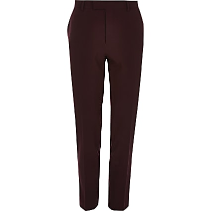 Big and tall dark red suit trousers