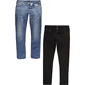 Big and Tall – Schwarze und blaue Slim Fit Jeans, 2er-Pack