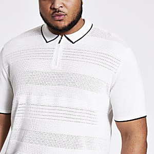 Big and Tall - Ecru gebreid slim-fit poloshirt