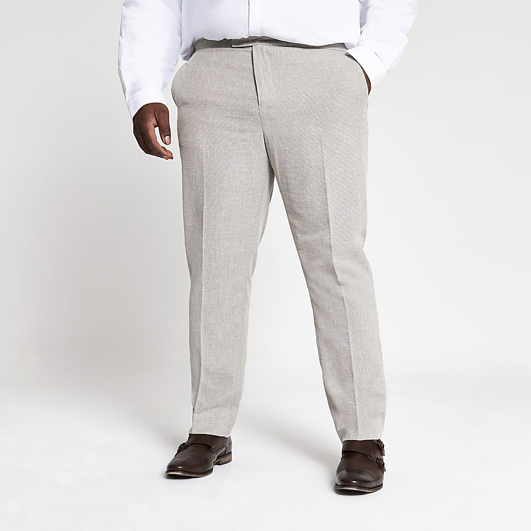 Big and Tall – Pantalon de costume écru