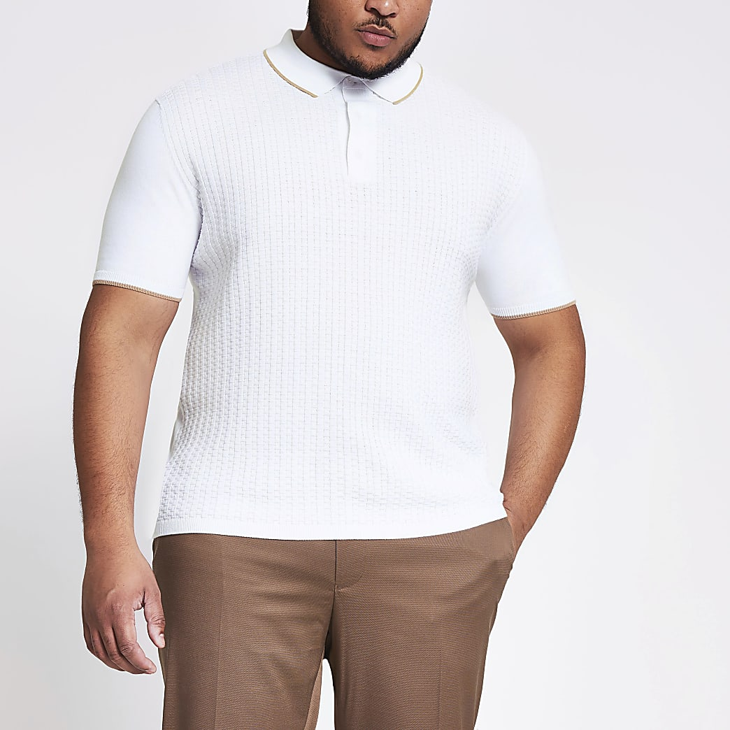 Big & Tall – Slim Fit Poloshirt in Ecru mit Webstruktur