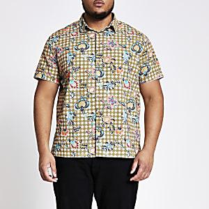 Big and Tall green floral short sleeve shirt