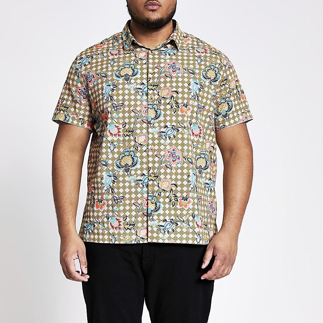 Big and Tall - Groen overhemd met bloemenprint en korte mouwen