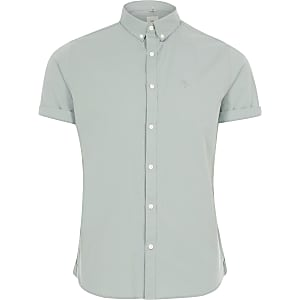 Big and Tall green Oxford shirt