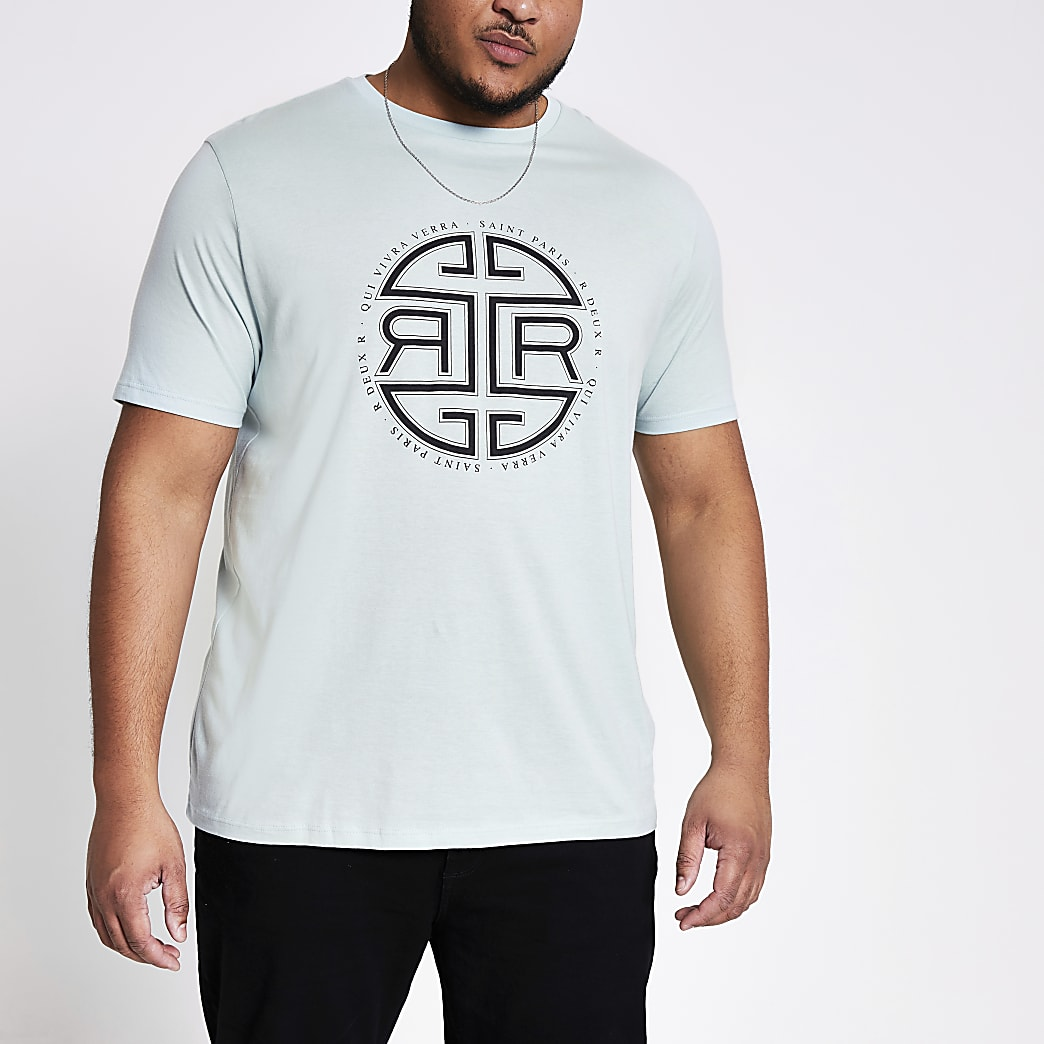 Big & Tall– Grünes, bedrucktes T-Shirt