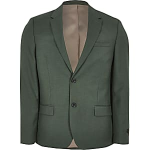 Big and Tall green skinny fit suit jacket