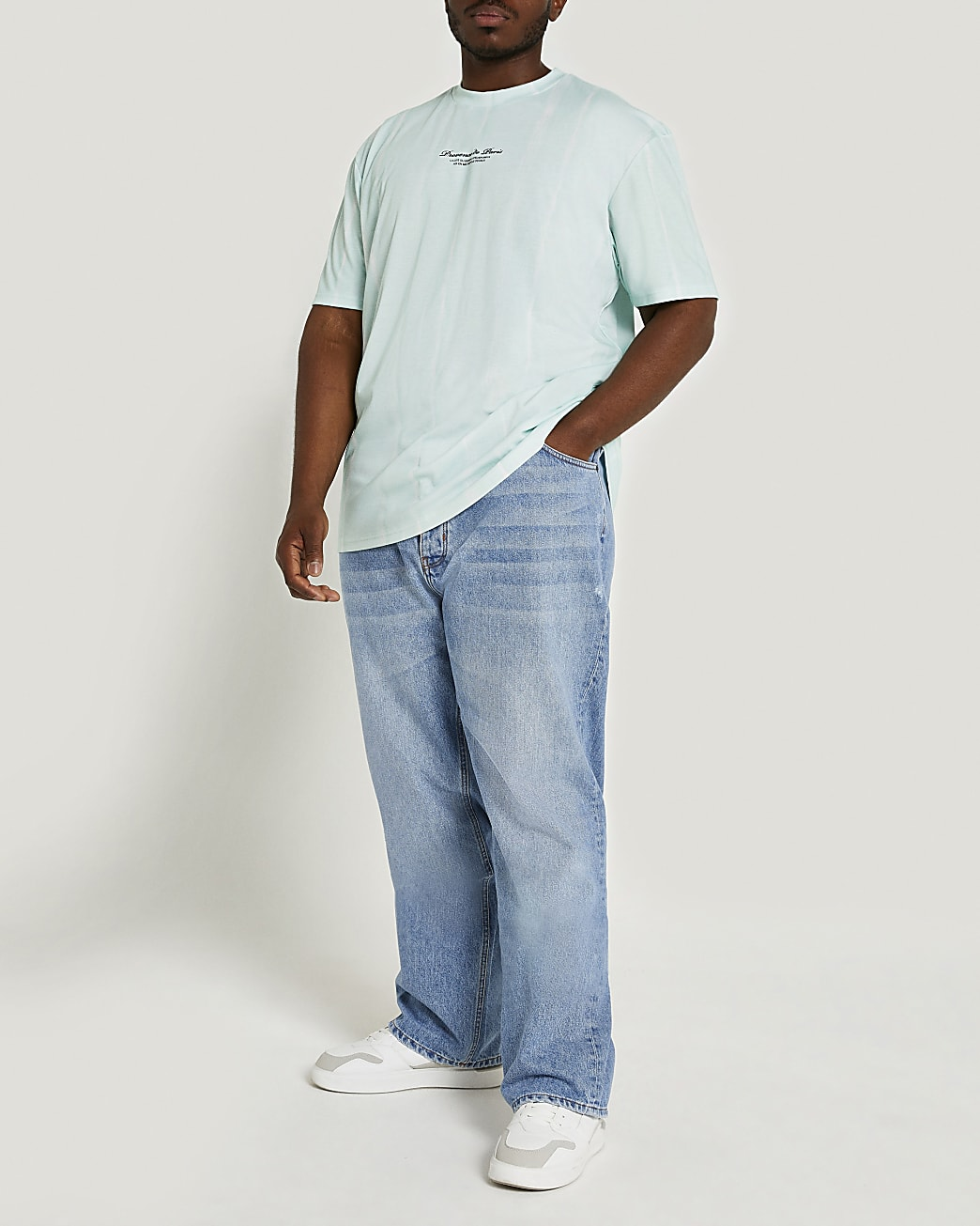 Big & Tall green stripe tie dye t-shirt