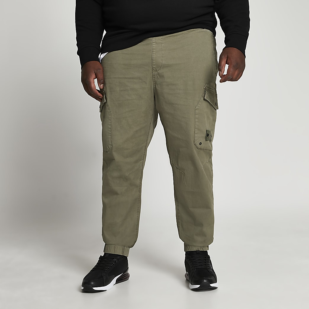 Big & Tall green washed cargo trousers